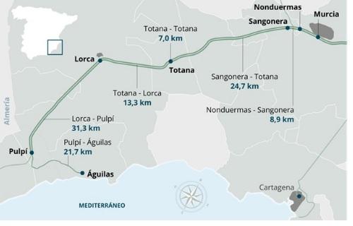 Adif AV licita el proyecto para construir una base de montaje y acopio de material para las obras del tramo Murcia-Lorca